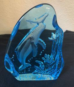 "Robert Wyland 'Humpback Whale and Calf' Blue 6"" Glass Art Sculpture Signed"