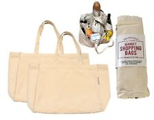 Organic Cotton Canvas Market Shopping Tote Bags (2) Inc 6 Bottle Pockets Strong
