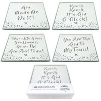Set of 4 Glass Silver Glitter Mirror Drink Coasters Gin & Tonic Novelty Design