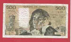 Billet FRANCE : 500 francs PASCAL du 7/6/1979
