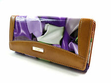 LADIES HIGH QUALITY TAN PURPLE LARGE CONCERTINA COIN PURSE CLUTCH BAG GIFT BOXED