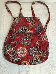 Bella Taylor Quilted Red Floral Backpack