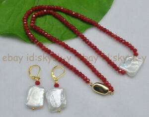 Natural 15X20mm White Genuine Baroque Pearl Faceted 2x4mm Ruby Necklaces Earring
