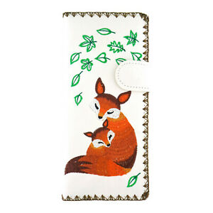 LAVISHY Embroidered Mama Fox & Baby Vegan/Faux Leather Large Flat Wallet