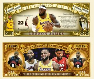 Pack Of 25 - LA Lakers LeBron James 1 Million Collectible Novelty Dollar Bills