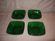 """Lot of 4 Anchor Hocking Square Fruit Bowls Forest Green 4 3/4"""" Square VGC"""