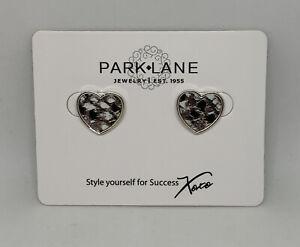 """NEW Park Lane Jewelry """"BINDI"""" Earrings Leather Snakeskin Heart Silver Stud Black"""