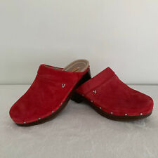 Vionic Kacie Clogs Sandal in Cherry Suede Women's  Shoes Size 7 Red NEW