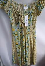 Top Shop Yellow Floral  tie front Gypsy Top Size 10 ref cl2