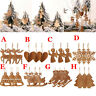 3PC Christmas Snowflakes Wooden Pendants Xmas Tree Ornaments Home Hanging Decor