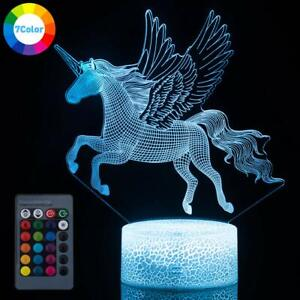 Unicorn 3D Night Light Remote LED Acrylic Table Lamp 7 Color Change for Kid GIFT