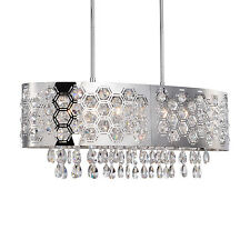 New 6 Light Hexagon Patterned Oval Shade Crystal Chandelier Pendant Chrome L28''