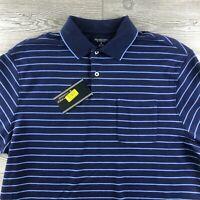 ROUNDTREE & YORKE SHORT SLEEVES SHIRT Size Large Blue Stripes Cotton (T121)