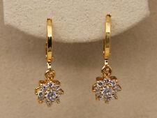 18K Gold Filled - White Topaz Geometry Flower Rivets Gemstone Ball Lady Earrings