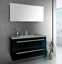 Single Hochglanz Piano Black Waschtisch Set Spiegel Softclose Waschbecken Bad