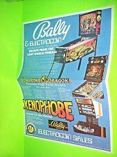 Bally Lost World Xenophobe Original NOS Pinball Machine Poster Flyer Electrocoin