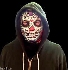 CANDY SKULL GREEN FACE HALLOWEEN NOVELTY LYCRA FABRIC MASK SNOOD GRIM REAPER