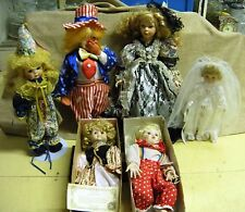 SIX VINTAGE Porcelain DOLLS-Brinn's, Brides of America ,Doll Ball Gown, Clown