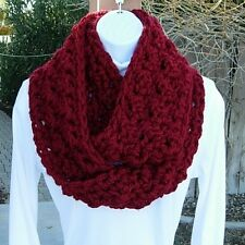 INFINITY SCARF LOOP COWL Dark Solid Red Soft Handmade Crochet Thick Bulky Circle