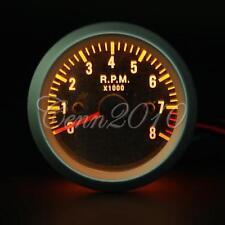 """8000RPM Rev Tacho Gauge Tachometer Carbon Fiber Face Yellow LED 2"""" 52mm US"""