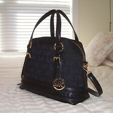 NWT Michael Kors GLADSTONE Woven Leather Large Satchel Bag MK Sig Jacquard Black