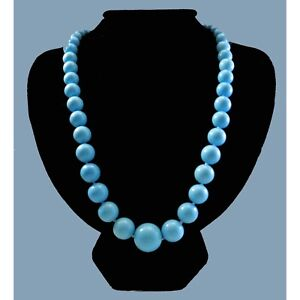 """Blue Sleeping Beauty Turquoise 9.5-17mm Bead 20"""" Necklace in 14K White Gold Over"""