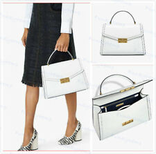 Authentic Tory Burch JULIETTE TOP HANDLE Leather SATCHEL Gloss White MSRP $558
