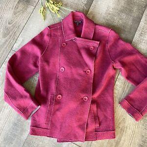 Eileen Fisher Jacket Medium Fuchsia 96% Merino Wool Peacoat Sweater 6 Button