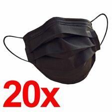 20x Mundschutz Maske Gesichtsmaske Einweg Atemschutz Schwarz Einwegmaske