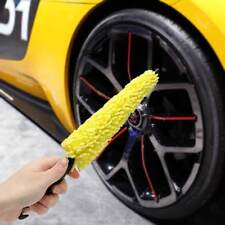 Tool Auto Tire Rim Cleaner Car Wheel Brush Plastic Handle Black Yellow Sponge