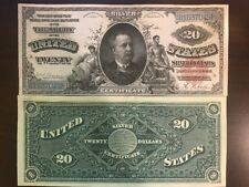 Reproduction Copy 1886 $20 Silver Certificate Daniel Manning US Currency