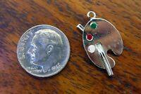 Vintage silver BEAU BEACRAFT PAINT PALETTE ARTIST ART PAINTER ENAMEL charm #1