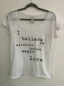 """Forever 21 """"I Believe In...... T Shirt, Semi Sheer, White, Size S"""