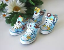 USA SELLER Dog Puppy SET of 4 Shoes Boots Sneakers Blue Flowers  sz #1 - #5