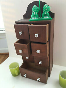 Antique Wooden Wall Shelf with Drawers