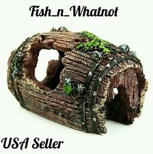 Aquarium Barrel Cave Ornament Natural Decoration Fish Tank Betta Cichlids