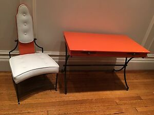 Matching Lacquered Desk And Chair In Hermes Orange