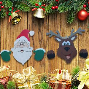 Merry Christmas Outdoor Banner Santa Claus Ornaments Xmas Garden Fence Decor