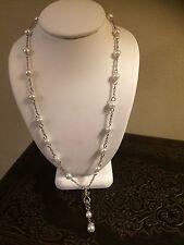 Vintage Silver Tone Faux Pearl Black Rhinestone Drop Necklace Unsigned