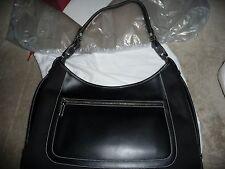 NWOB Auth Salvatore Ferragamo Canvas Leather Black Hand Bag Italy 3375 Gorgeous!