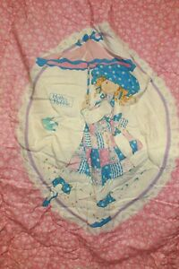 Viintage 70/80s Pink Holly Hobbie Twin Sz Comforter Blanket Cute Animals Plush