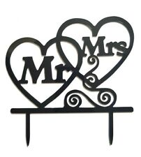 MR & MRS WEDDING CAKE TOPPER-AND-HEART BLACK ACRYLIC SILHOUETTE-16CM-DECORATION