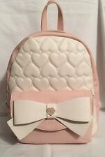 Betsey Johnson Backpack BE MINE BOW MEDIUM BACKPACK Cream Blush Quilted Hearts