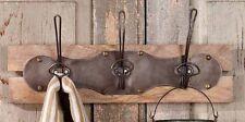 TRIPLE Wall Hook Hanger-Vintage Look Primitive Distressed Metal Hooks & Wood