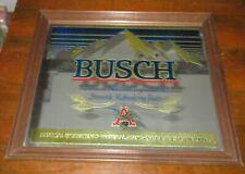 """Vintage Busch Beer Mirror Sign Large 24"""" x 20 1/2"""" Wood Framed Man Cave Garage"""