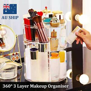 360° Rotating Acrylic Makeup Organiser Clear Cosmetics Holder Storage Box AU