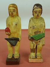 ADAM AND EVE. WOOD SCULPTURE CARVED AND PAINTED. POPULAR. MEXICO. XIX CENTURY.