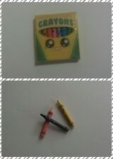 Dollhouse Miniature Realistic Look Crayons with Kawaii Faces