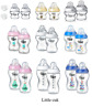 Tommee Tippee Closer 150ml / 260ml / 340ml Decorated Bottles Blue / Pink / Clear