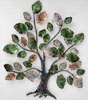 670571 Wanddeko 60 x 70cm Baum mit Blättern aus farbigem, glänzendem Metall